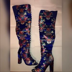 Blue Lime Flower Embroidered Over the Knee Boots